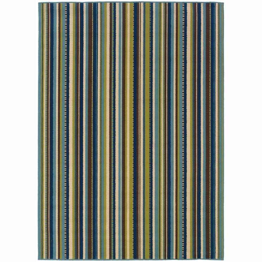 Archer Lane Babcock Blue Rectangular Indoor/Outdoor Tropical Area Rug (Common: 7 x 10; Actual: 6.6-ft W x 9.5-ft L)