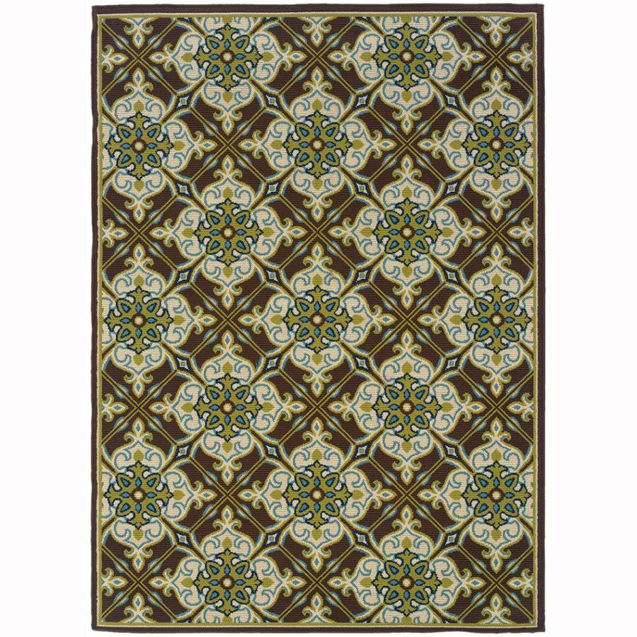 Archer Lane Cabel Brown Rectangular Indoor/Outdoor Machine-Made Tropical Area Rug (Common: 4 x 6; Actual: 3.6-ft W x 5.5-ft L)