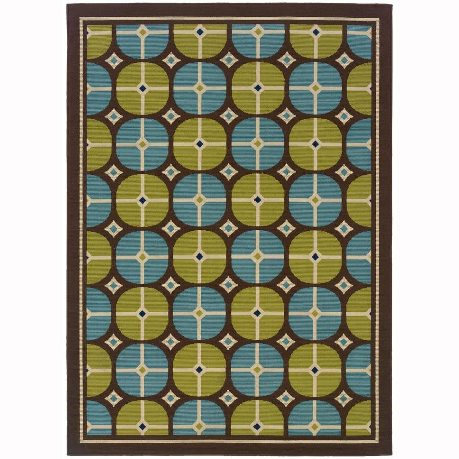 Archer Lane Dabbs Brown Rectangular Indoor/Outdoor Machine-Made Tropical Area Rug (Common: 7 x 10; Actual: 6.6-ft W x 9.5-ft L)
