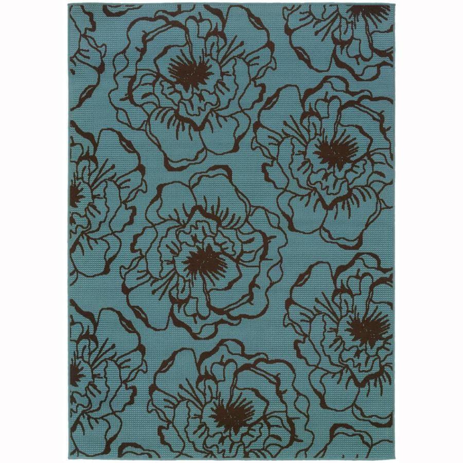 Archer Lane Eades Blue Indoor/Outdoor Tropical Area Rug (Common: 5 x 8; Actual: 5.25-ft W x 7.5-ft L)