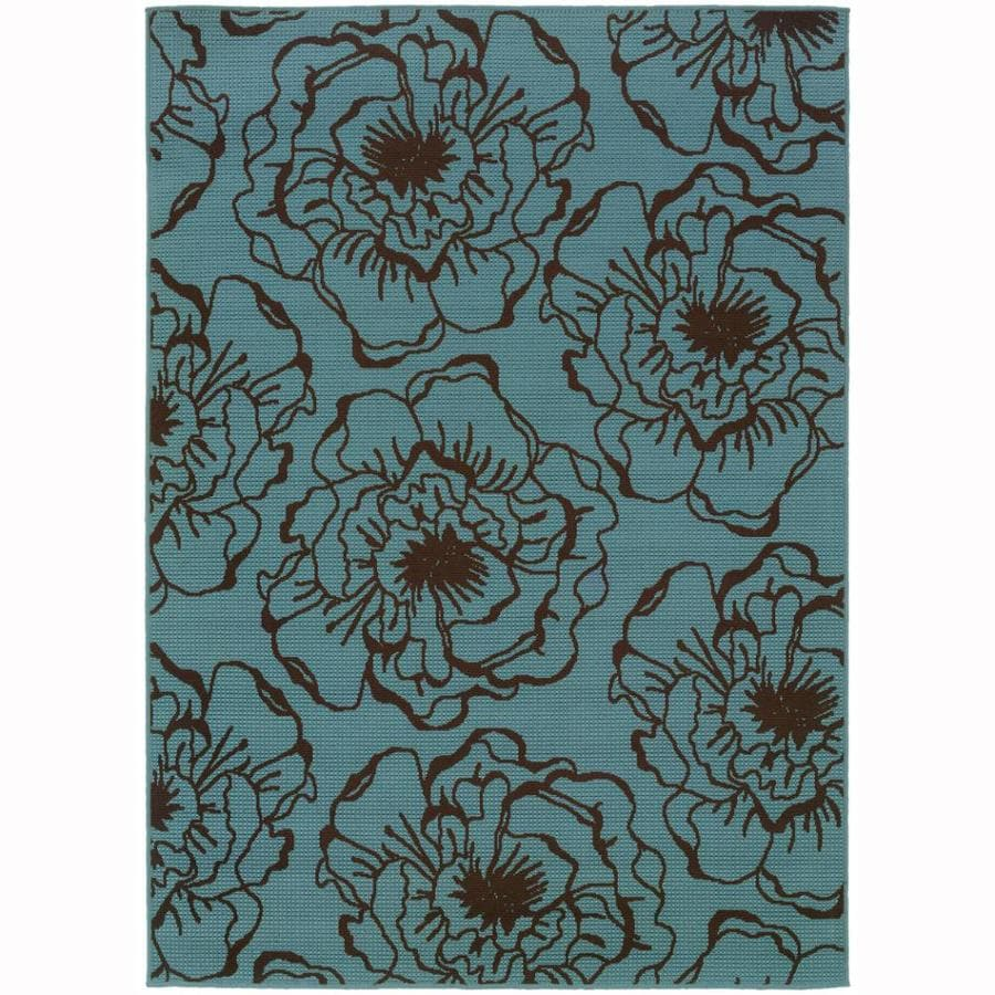 Archer Lane Eades Blue Rectangular Indoor/Outdoor Machine-Made Tropical Area Rug (Common: 7 x 10; Actual: 6.6-ft W x 9.5-ft L)