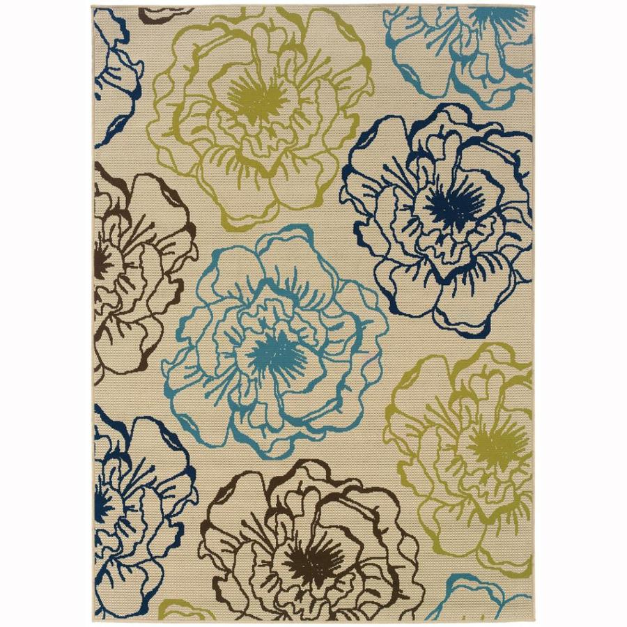 Archer Lane Eades Ivory Rectangular Indoor/Outdoor Machine-Made Tropical Area Rug (Common: 5 x 8; Actual: 5.25-ft W x 7.5-ft L)