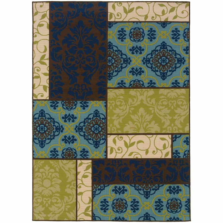 Archer Lane Fagan Brown Rectangular Indoor/Outdoor Machine-Made Tropical Area Rug (Common: 4 x 6; Actual: 3.6-ft W x 5.5-ft L)