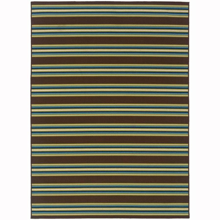 Archer Lane Gablewood Brown Rectangular Indoor/Outdoor Machine-Made Tropical Area Rug (Common: 4 x 6; Actual: 3.6-ft W x 5.5-ft L)