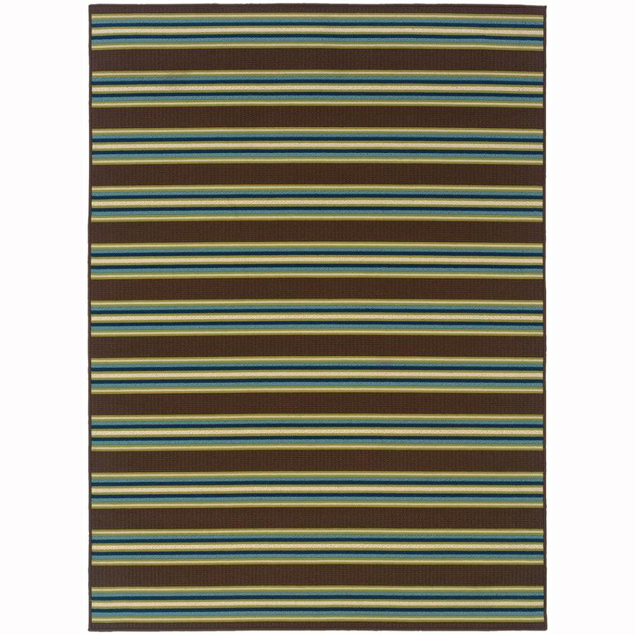 Archer Lane Gablewood Brown Rectangular Indoor/Outdoor Machine-Made Tropical Area Rug (Common: 8 x 11; Actual: 7.8-ft W x 10.8-ft L)