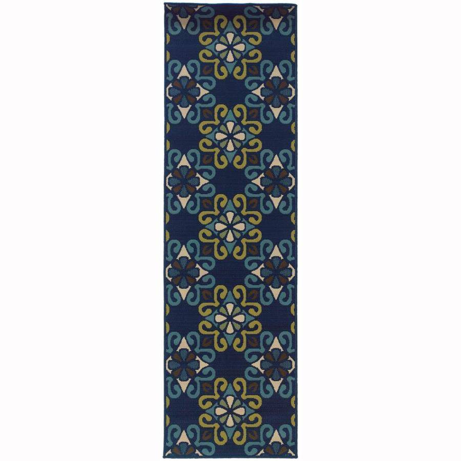 Archer Lane Haas Blue Rectangular Indoor/Outdoor Machine-Made Tropical Runner (Common: 2x8; Actual: 2.25-ft W x 7.5-ft L)
