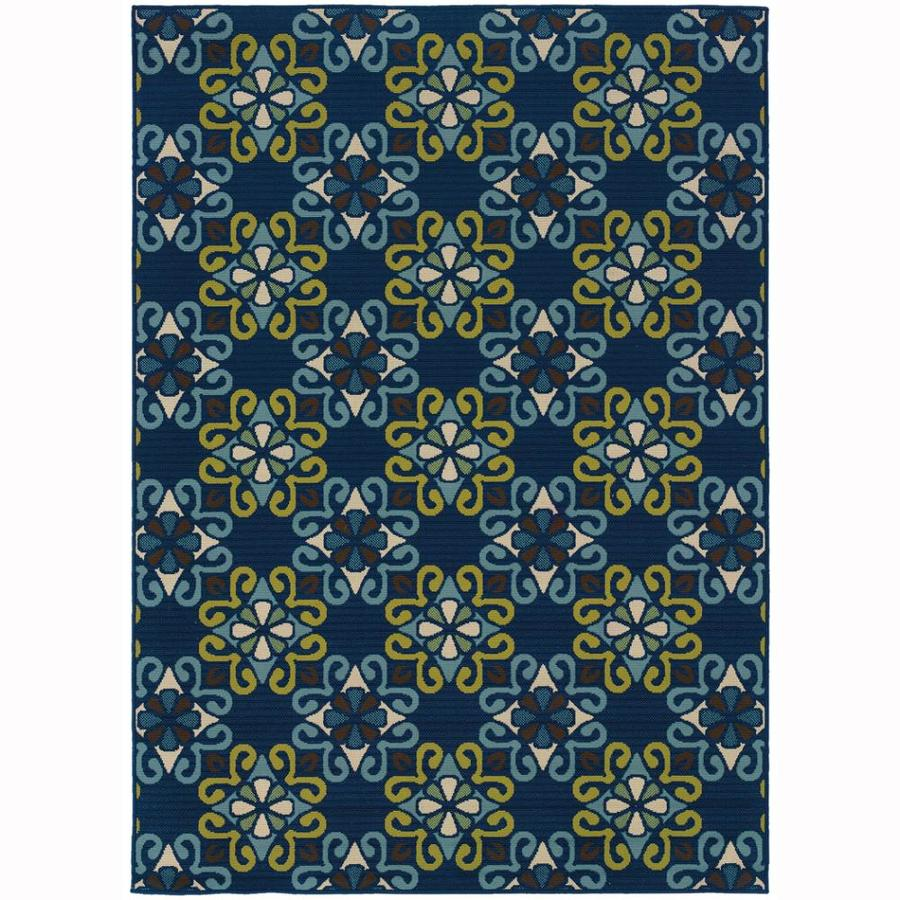 Archer Lane Haas Blue Rectangular Indoor/Outdoor Machine-Made Tropical Area Rug (Common: 7 x 10; Actual: 6.6-ft W x 9.5-ft L)
