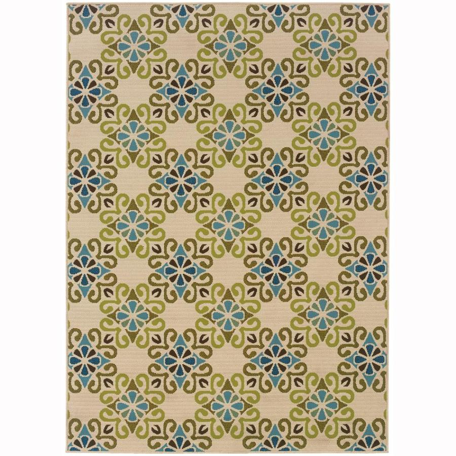 Archer Lane Haas Ivory Rectangular Indoor/Outdoor Machine-Made Tropical Area Rug (Common: 7 x 10; Actual: 6.6-ft W x 9.5-ft L)