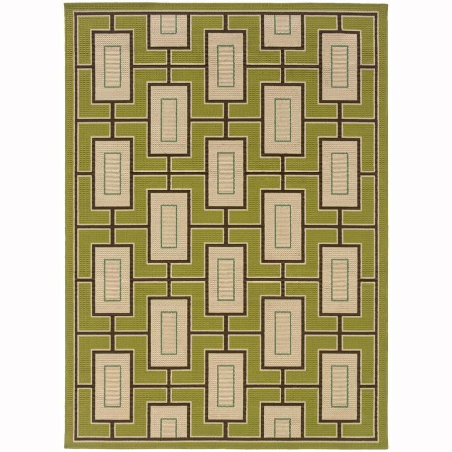 Archer Lane Ickenham Green Rectangular Indoor/Outdoor Machine-Made Tropical Area Rug (Common: 7 x 10; Actual: 6.6-ft W x 9.5-ft L)