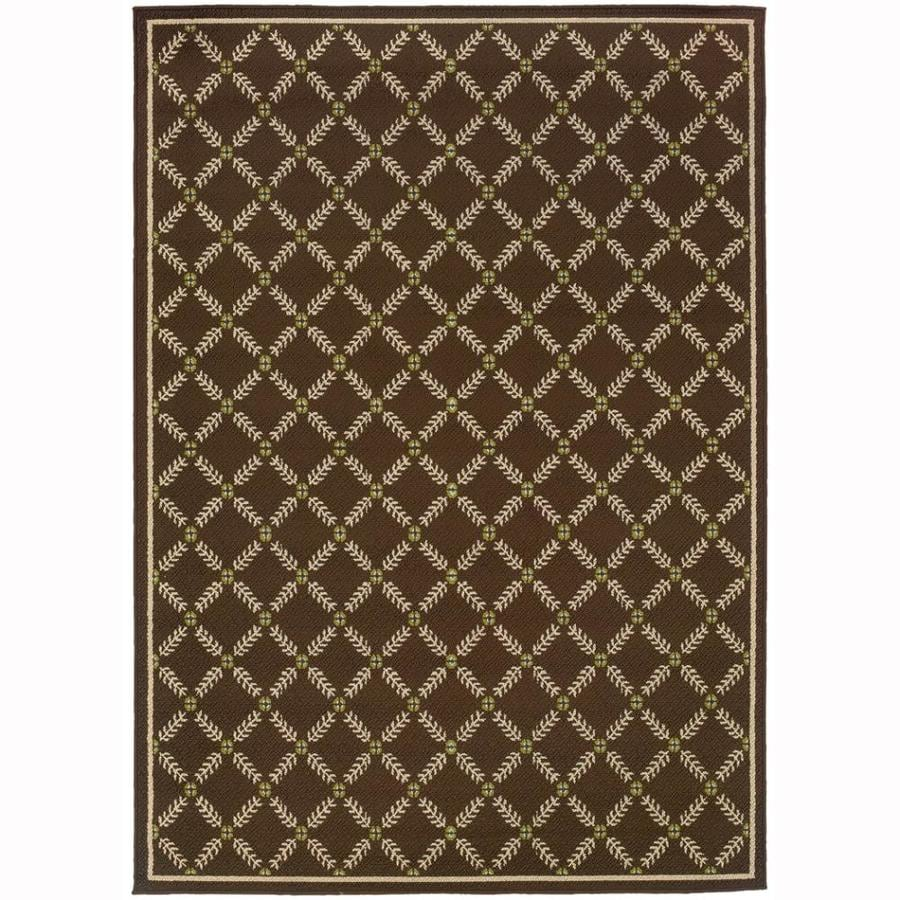 Archer Lane Jackaway Brown Rectangular Indoor/Outdoor Machine-Made Tropical Area Rug (Common: 8 x 11; Actual: 7.8-ft W x 10.8-ft L)