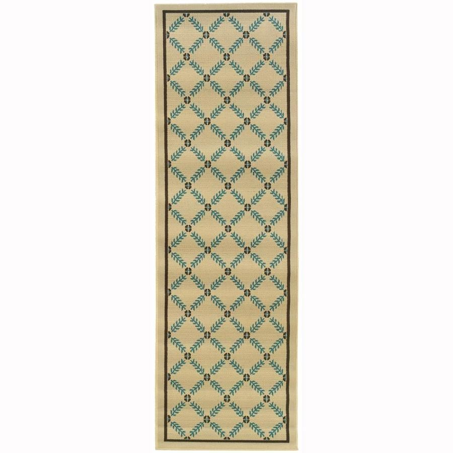 Archer Lane Jackaway Ivory Rectangular Indoor/Outdoor Machine-Made Tropical Runner (Common: 2 x 8; Actual: 2.25-ft W x 7.5-ft L)