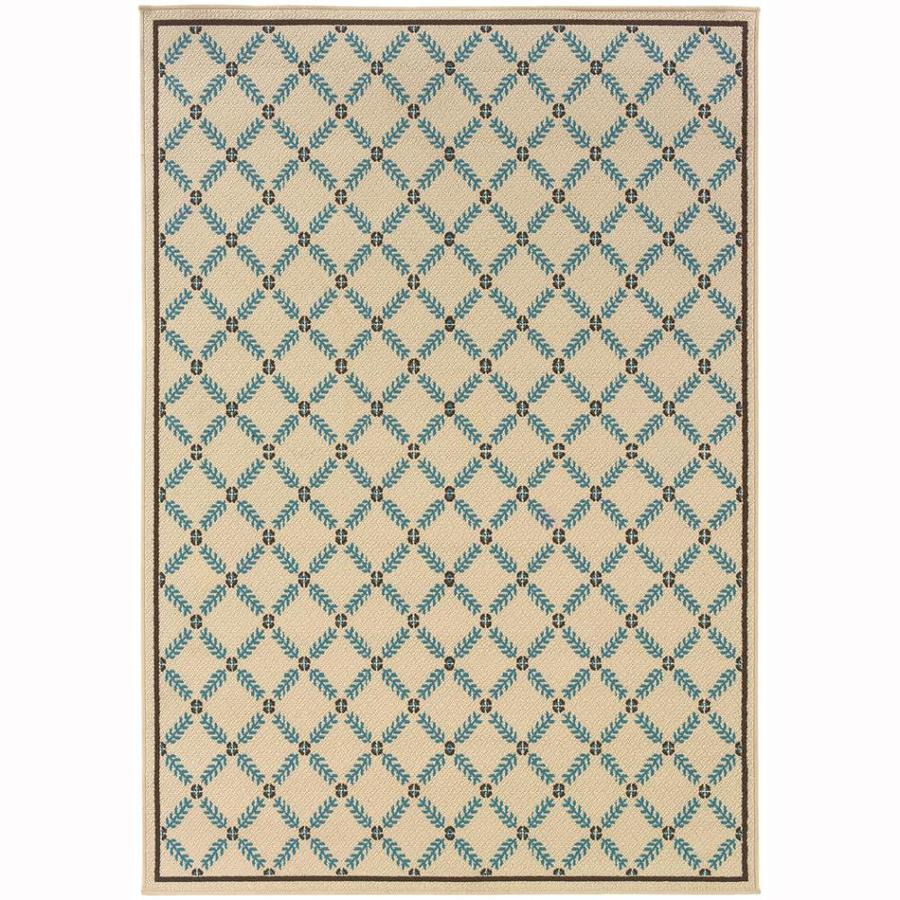 Archer Lane Jackaway Ivory Rectangular Indoor/Outdoor Machine-Made Tropical Area Rug (Common: 9 x 13; Actual: 8.5-ft W x 13-ft L)