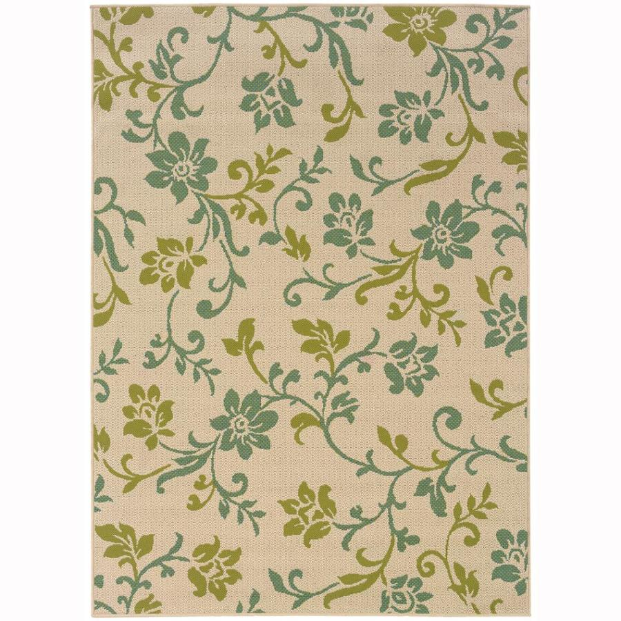 Archer Lane Kelden Ivory Rectangular Indoor/Outdoor Machine-Made Tropical Area Rug (Common: 9 x 13; Actual: 8.5-ft W x 13-ft L)