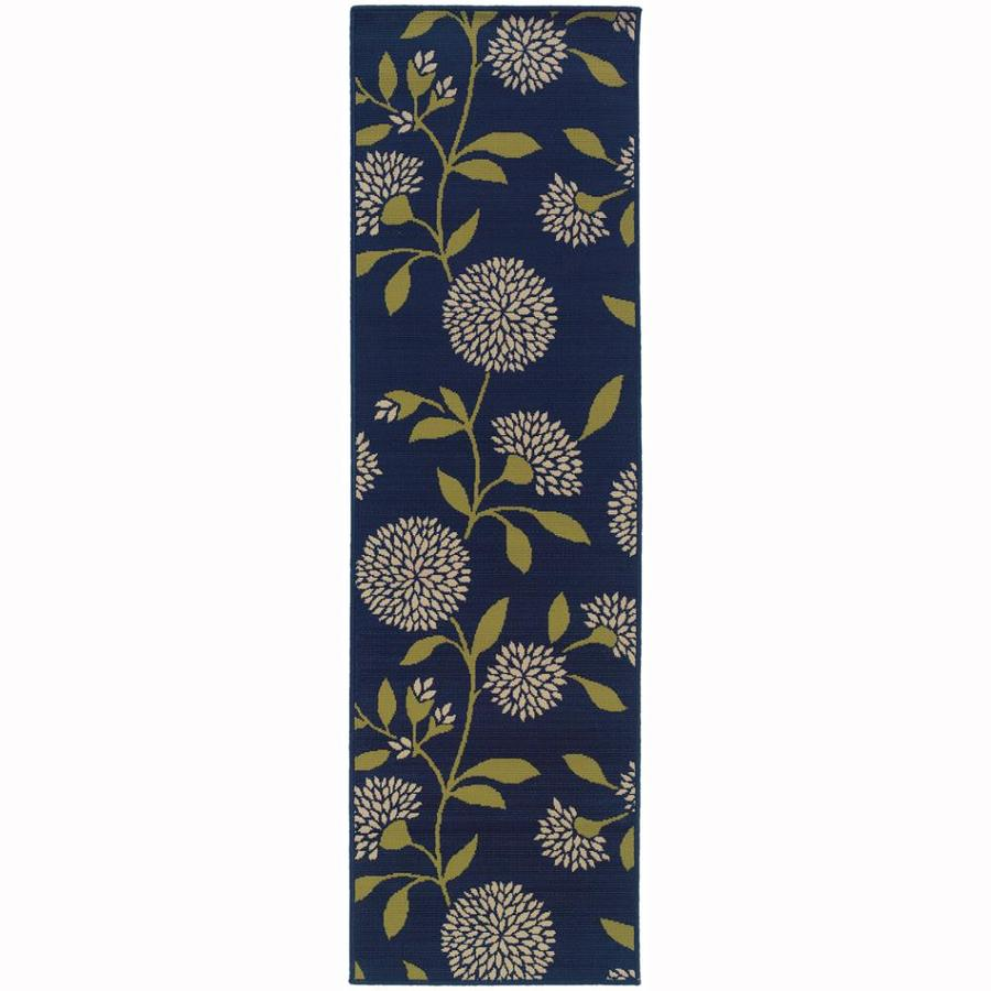 Archer Lane Labrador Blue Indoor/Outdoor Tropical Runner (Common: 2 x 8; Actual: 2.25-ft W x 7.5-ft L)