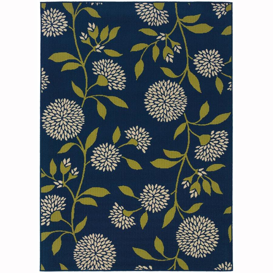 Archer Lane Labrador Blue Rectangular Indoor/Outdoor Machine-Made Tropical Area Rug (Common: 8 x 11; Actual: 7.8-ft W x 10.8-ft L)