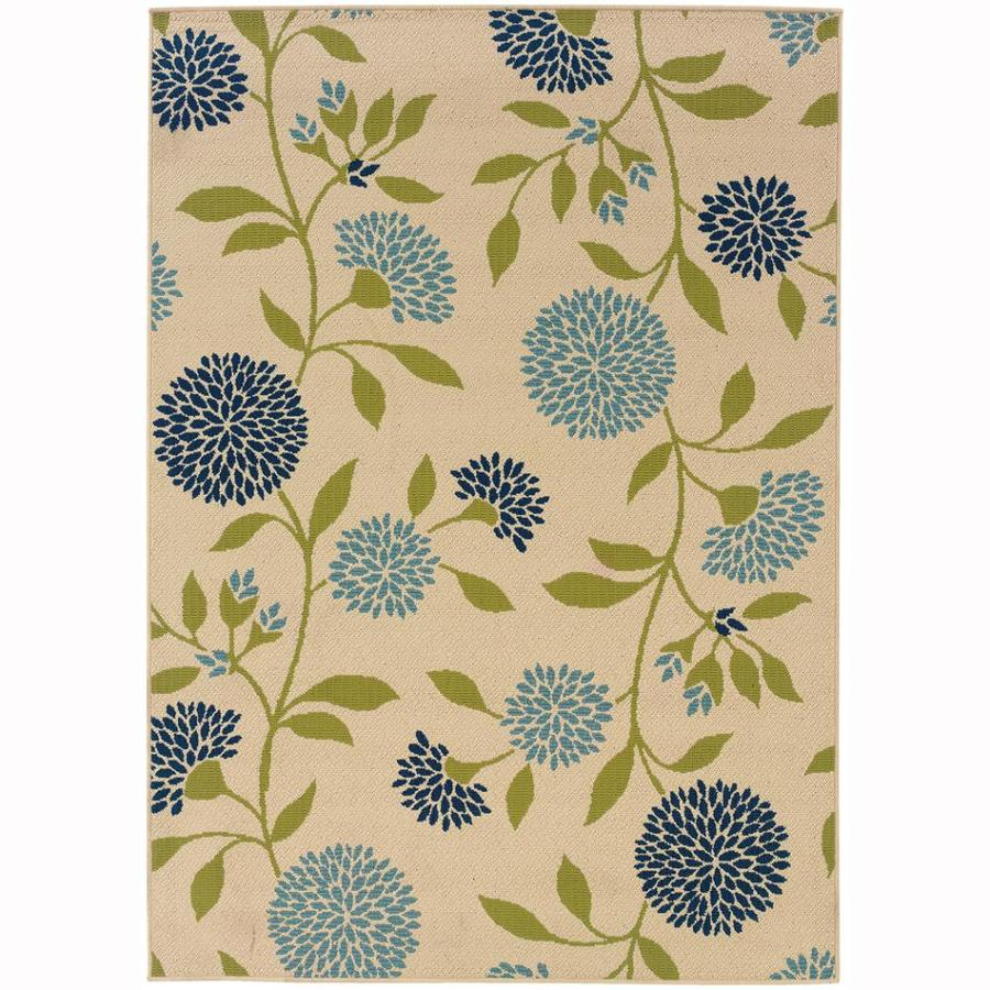 Archer Lane Labrador Ivory Rectangular Indoor/Outdoor Machine-Made Tropical Area Rug (Common: 4 x 6; Actual: 3.6-ft W x 5.5-ft L)