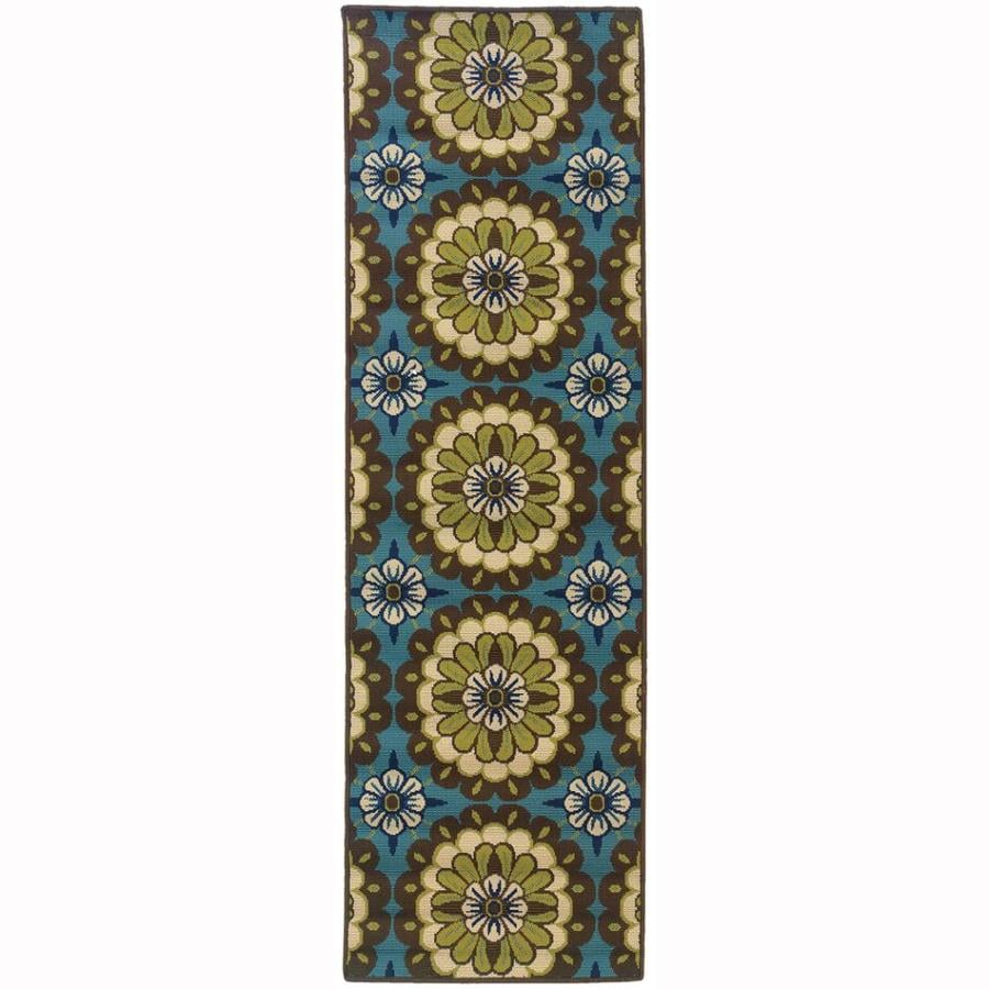 Archer Lane Mabrick Blue Rectangular Indoor/Outdoor Machine-Made Tropical Runner (Common: 2 x 8; Actual: 2.25-ft W x 7.5-ft L)
