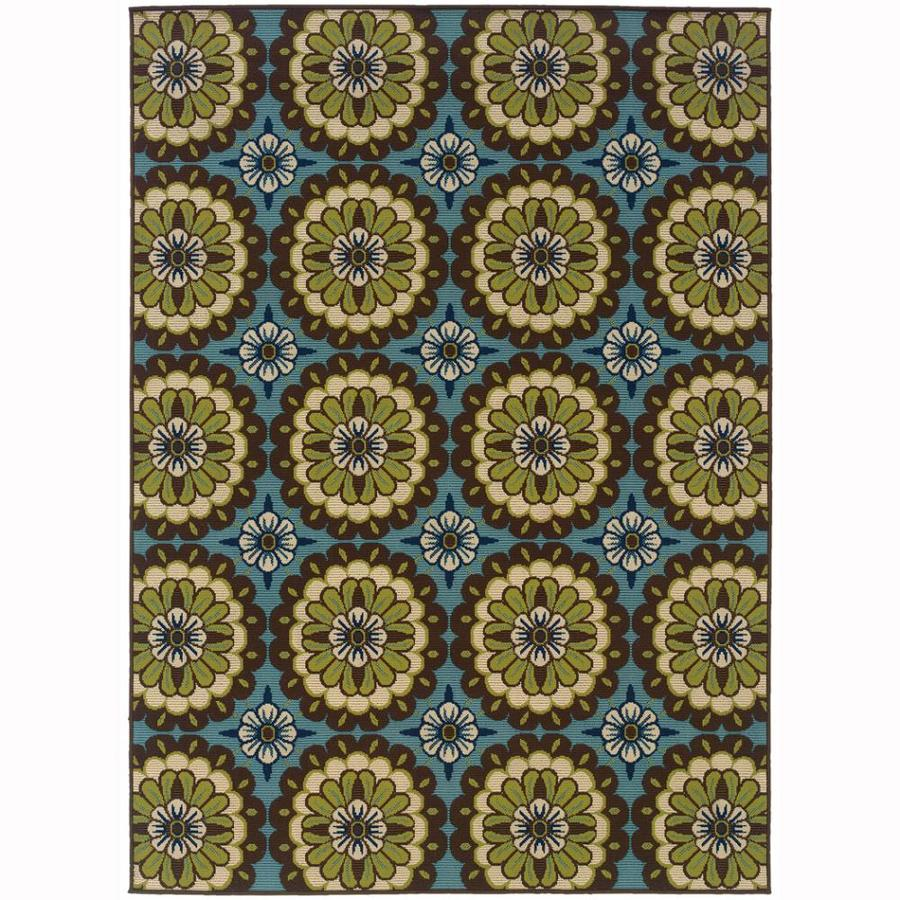 Archer Lane Mabrick Blue Rectangular Indoor/Outdoor Machine-Made Tropical Area Rug (Common: 5 X 8; Actual: 5.25-ft W x 7.5-ft L)