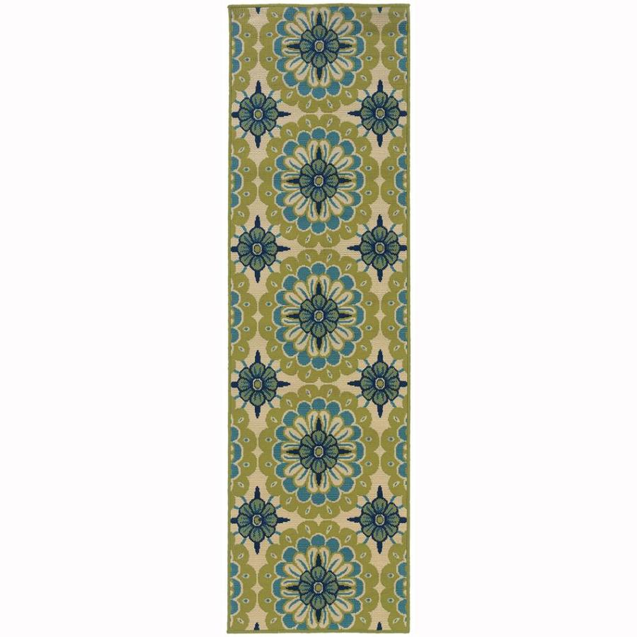 Archer Lane Mabrick Green Indoor/Outdoor Tropical Runner (Common: 2 x 8; Actual: 2.25-ft W x 7.5-ft L)