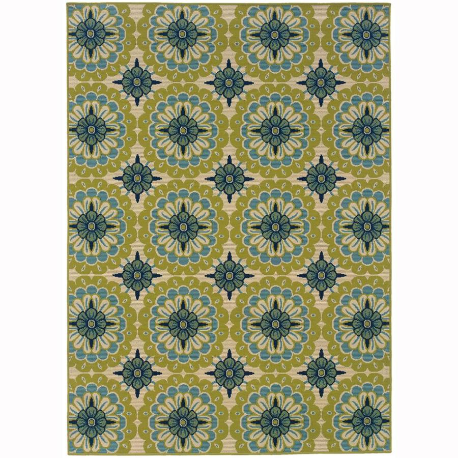 Archer Lane Mabrick Green Indoor/Outdoor Tropical Area Rug (Common: 4 x 6; Actual: 3.6-ft W x 5.5-ft L)