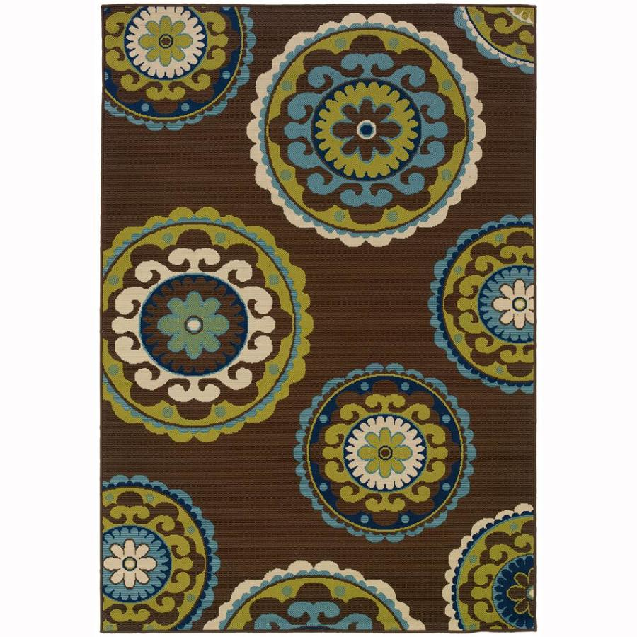 Archer Lane Nadia Brown Rectangular Indoor/Outdoor Machine-Made Tropical Area Rug (Common: 4 X 6; Actual: 3.6-ft W x 5.5-ft L)