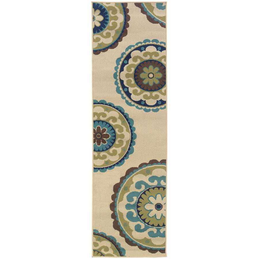 Archer Lane Nadia Ivory Indoor/Outdoor Tropical Runner (Common: 2 x 8; Actual: 2.25-ft W x 7.5-ft L)