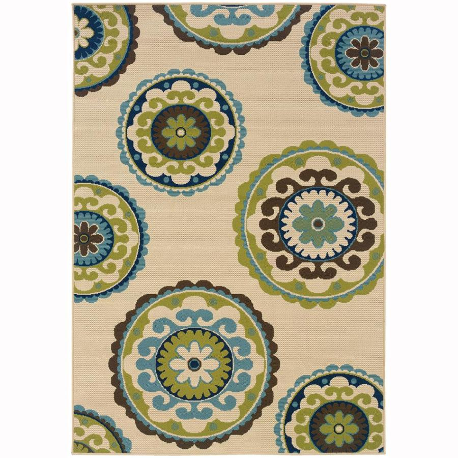 Archer Lane Nadia Ivory Rectangular Indoor/Outdoor Machine-Made Tropical Area Rug (Common: 9 x 13; Actual: 8.5-ft W x 13-ft L)