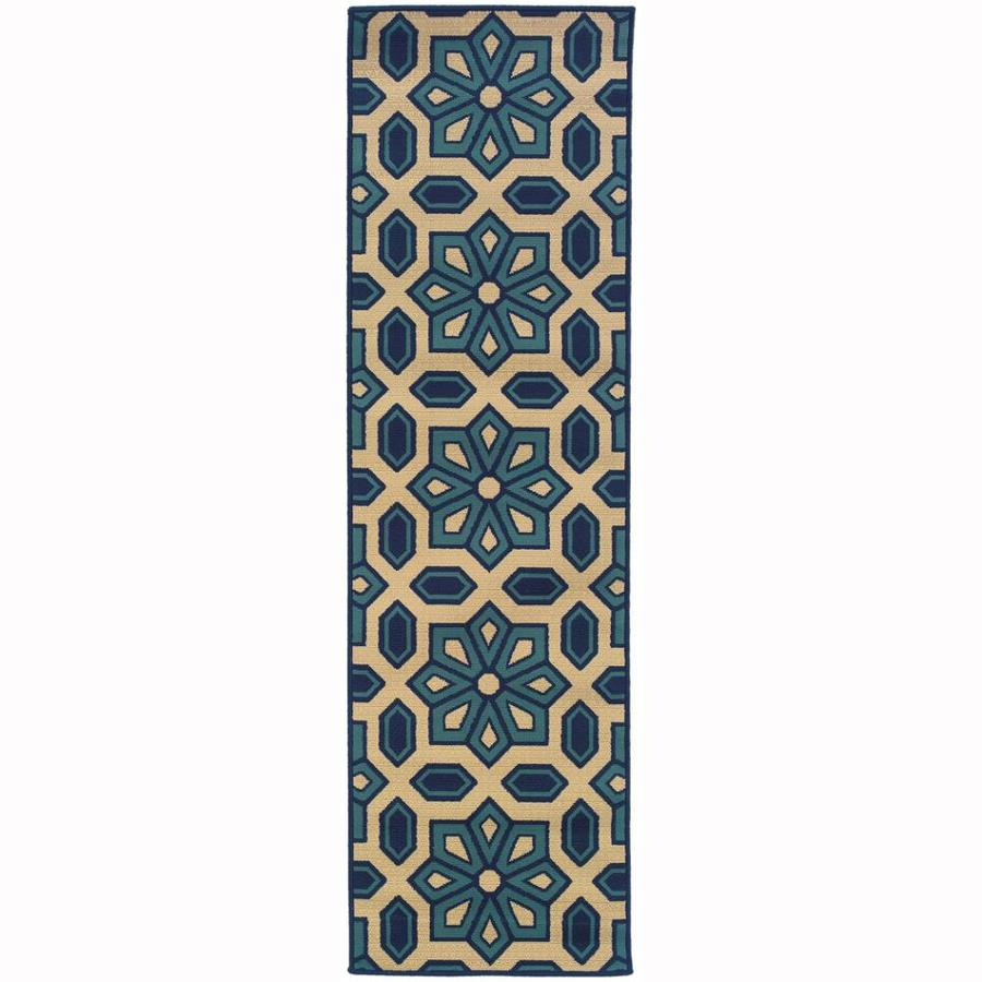Archer Lane Oakes Ivory Indoor/Outdoor Tropical Runner (Common: 2 x 8; Actual: 2.25-ft W x 7.5-ft L)