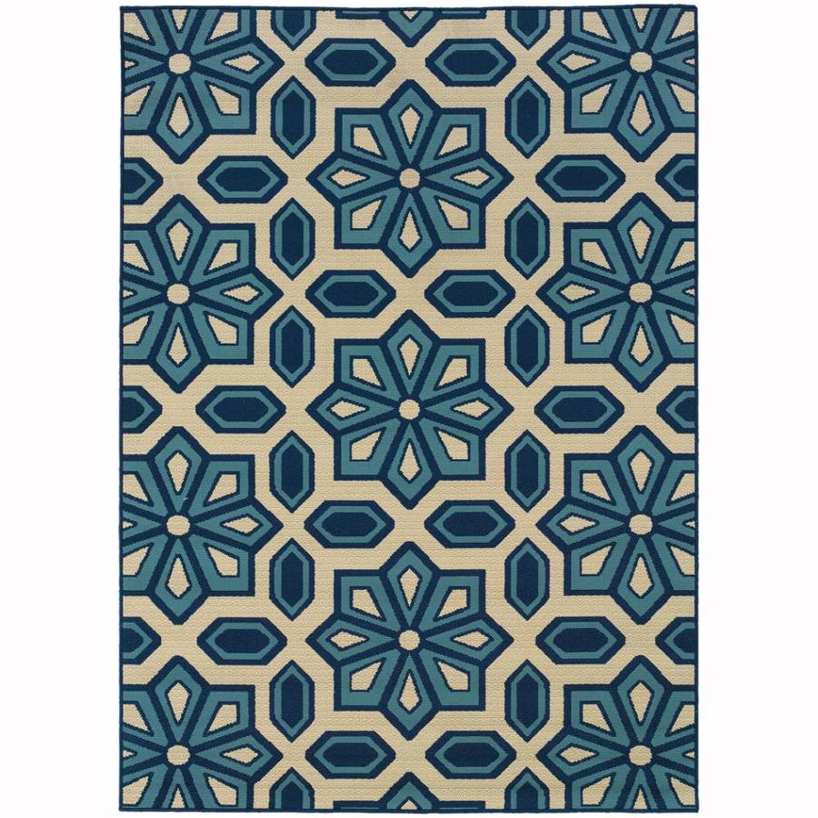 Archer Lane Oakes Ivory Rectangular Indoor/Outdoor Machine-Made Tropical Area Rug (Common: 8 x 11; Actual: 7.8-ft W x 10.8-ft L)
