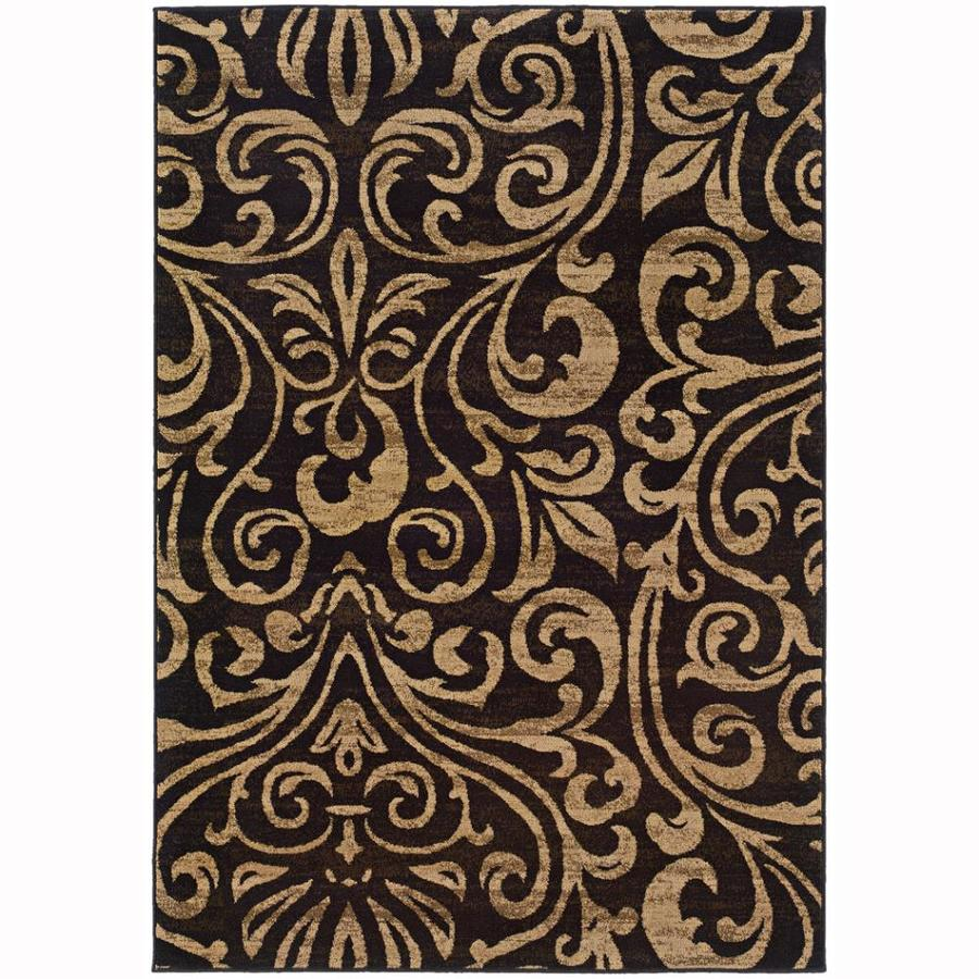 Archer Lane Eaglewood Black Rectangular Indoor Machine-Made Nature Area Rug (Common: 4 x 6; Actual: 3.8-ft W x 5.4-ft L)