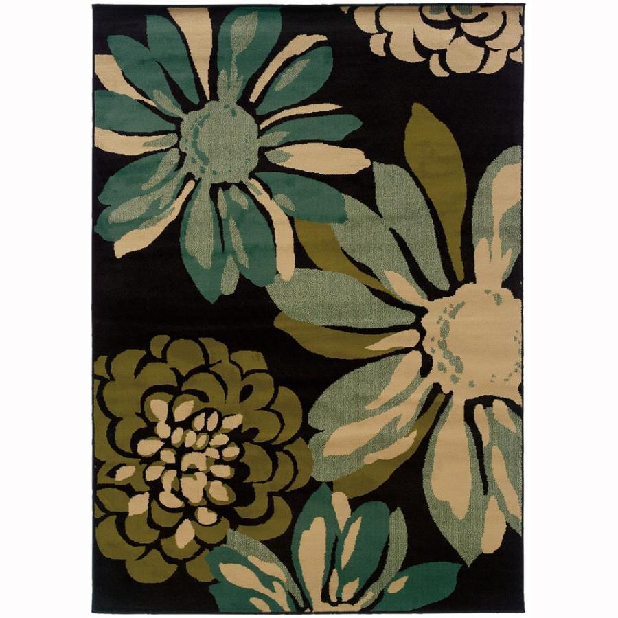 Archer Lane Naismith Teal Rectangular Indoor Machine-Made Nature Area Rug (Common: 4 x 5; Actual: 3.8-ft W x 5.4-ft L)