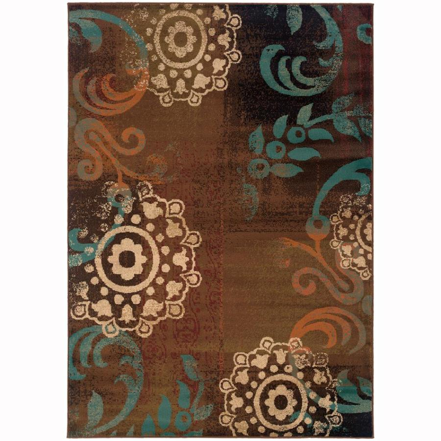 Archer Lane Page Brown Rectangular Indoor Machine-Made Nature Area Rug (Common: 7 x 10; Actual: 6.6-ft W x 9.5-ft L)