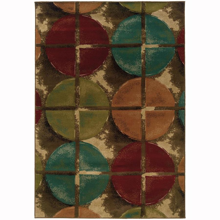 Archer Lane Rabun Brown Rectangular Indoor Machine-Made Nature Area Rug (Common: 7 X 10; Actual: 6.6-ft W x 9.5-ft L)