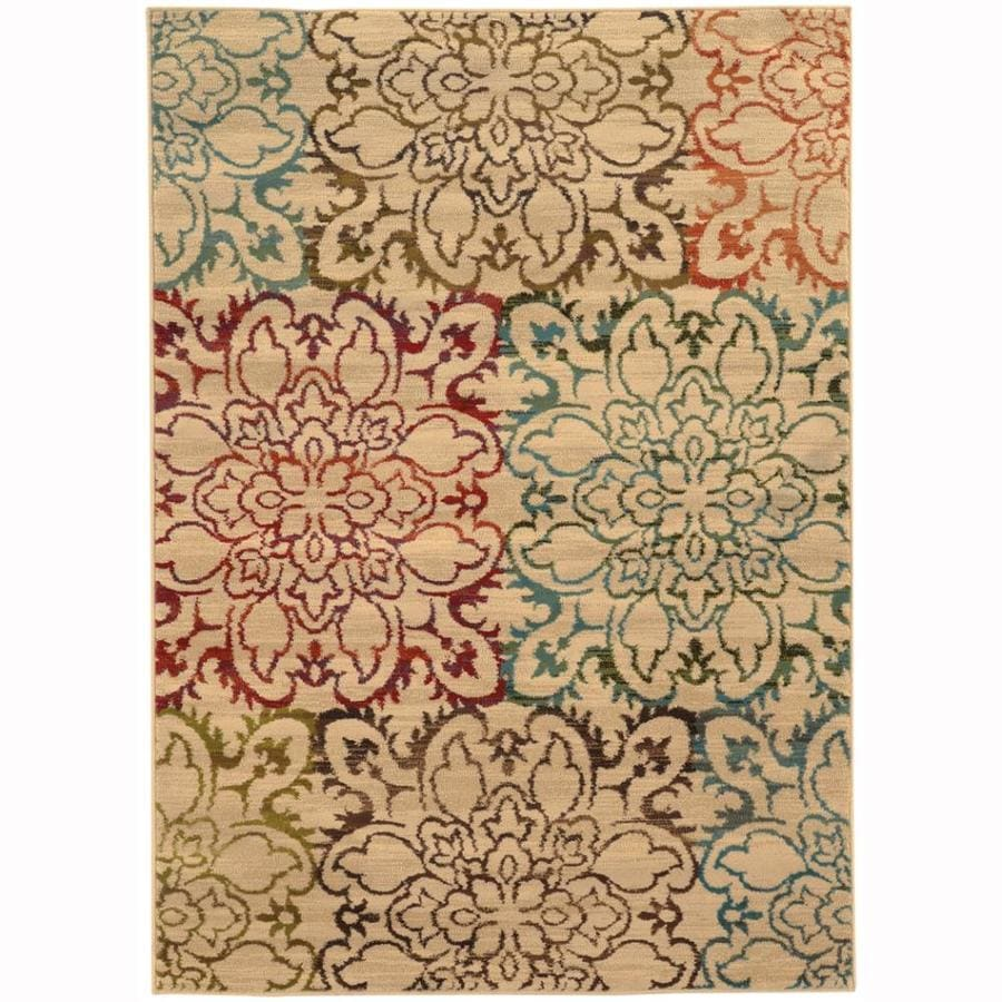 Archer Lane Uhlerstown Ivory Rectangular Indoor Machine-Made Nature Area Rug (Common: 7 x 10; Actual: 6.6-ft W x 9.5-ft L)