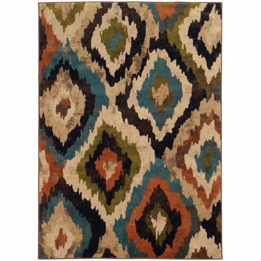 Archer Lane Vailston Blue Rectangular Indoor Machine-Made Nature Area Rug (Common: 4 x 6; Actual: 3.8-ft W x 5.4-ft L)