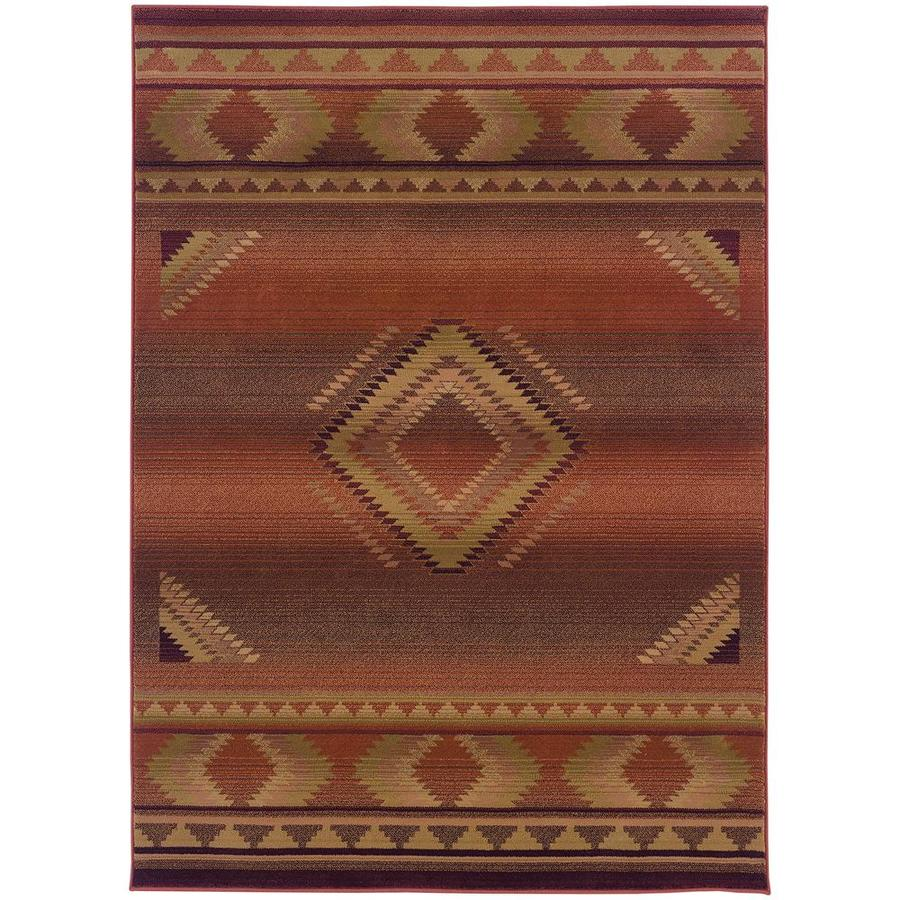 Archer Lane Caden Red Indoor Southwestern Area Rug (Common: 5 x 8; Actual: 5.25-ft W x 7.5-ft L)