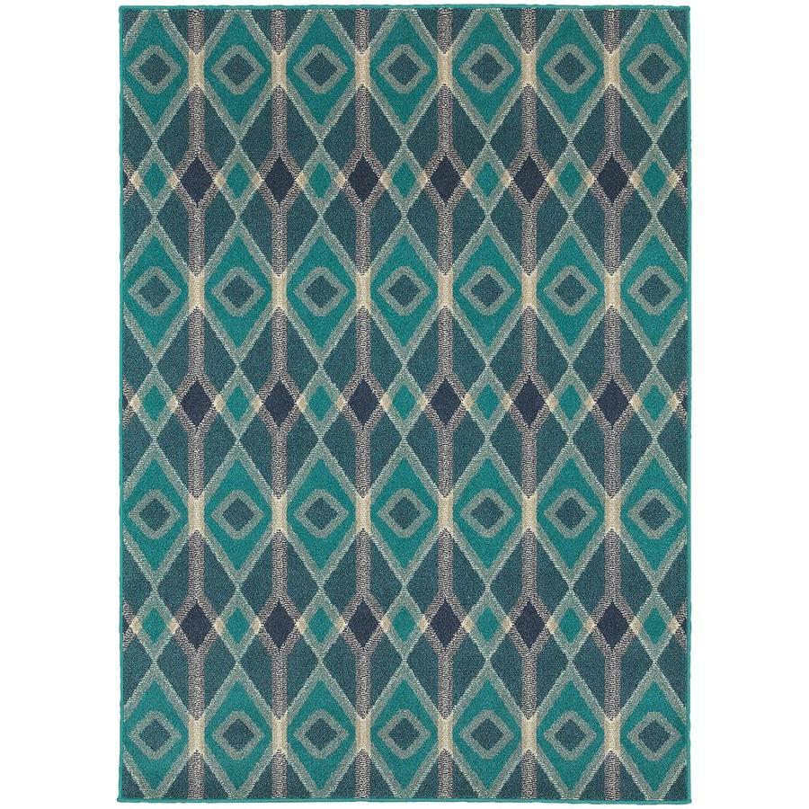 Archer Lane Fair Oaks Blue Indoor Area Rug (Common: 4 x 6; Actual: 3.83-ft W x 5.42-ft L)
