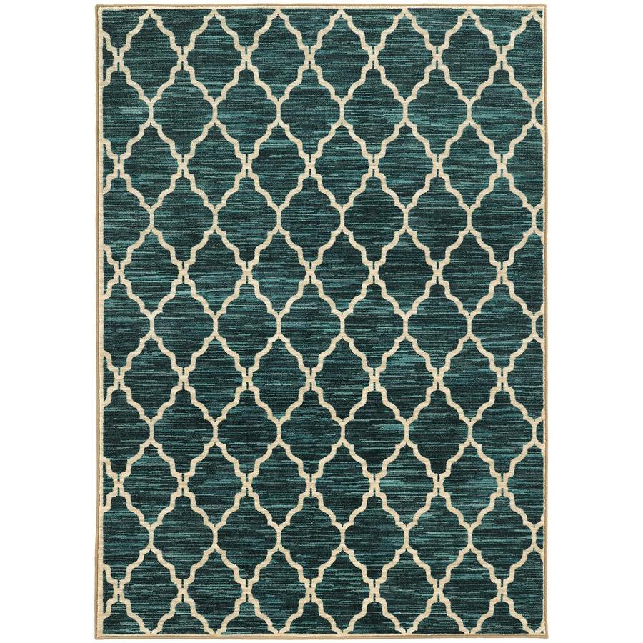 Archer Lane Laurel Teal Indoor Area Rug (Common: 6 x 9; Actual: 6.58-ft W x 9.5-ft L)