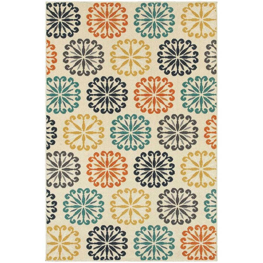 Archer Lane Gallagher Ivory Rectangular Indoor Machine-Made Area Rug (Common: 7 x 10; Actual: 6.58-ft W x 9.5-ft L)