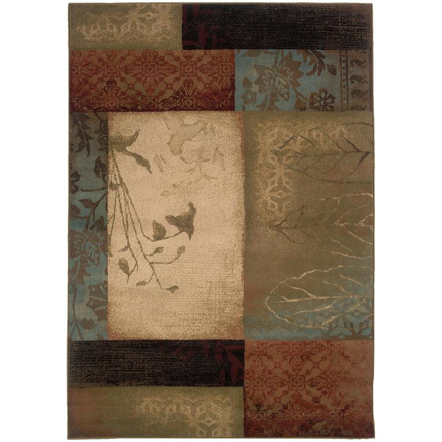 Archer Lane Caisson Beige Rectangular Indoor Machine-Made Area Rug (Common: 7 x 10; Actual: 6.58-ft W x 9.5-ft L)