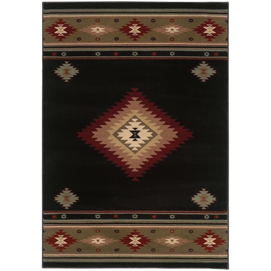 Archer Lane Galloway Black Rectangular Indoor Machine-Made Southwestern Area Rug (Common: 5 x 8; Actual: 5.25-ft W x 7.5-ft L)