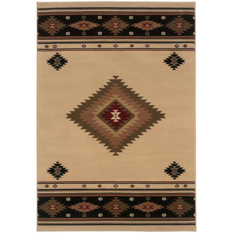 shop archer lane galloway beige indoor southwestern area rug common 7 x 10 actual w. Black Bedroom Furniture Sets. Home Design Ideas