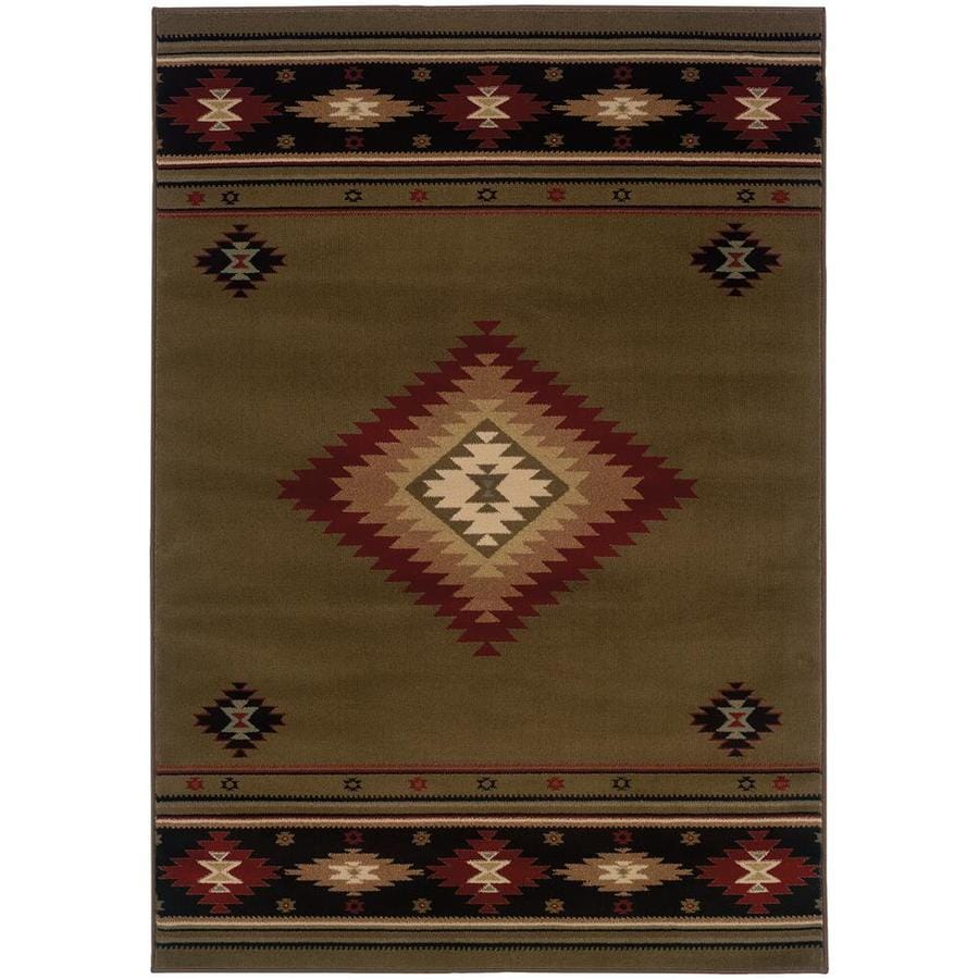 Archer Lane Galloway Green Indoor Southwestern Area Rug (Common: 5 x 8; Actual: 5.25-ft W x 7.5-ft L)