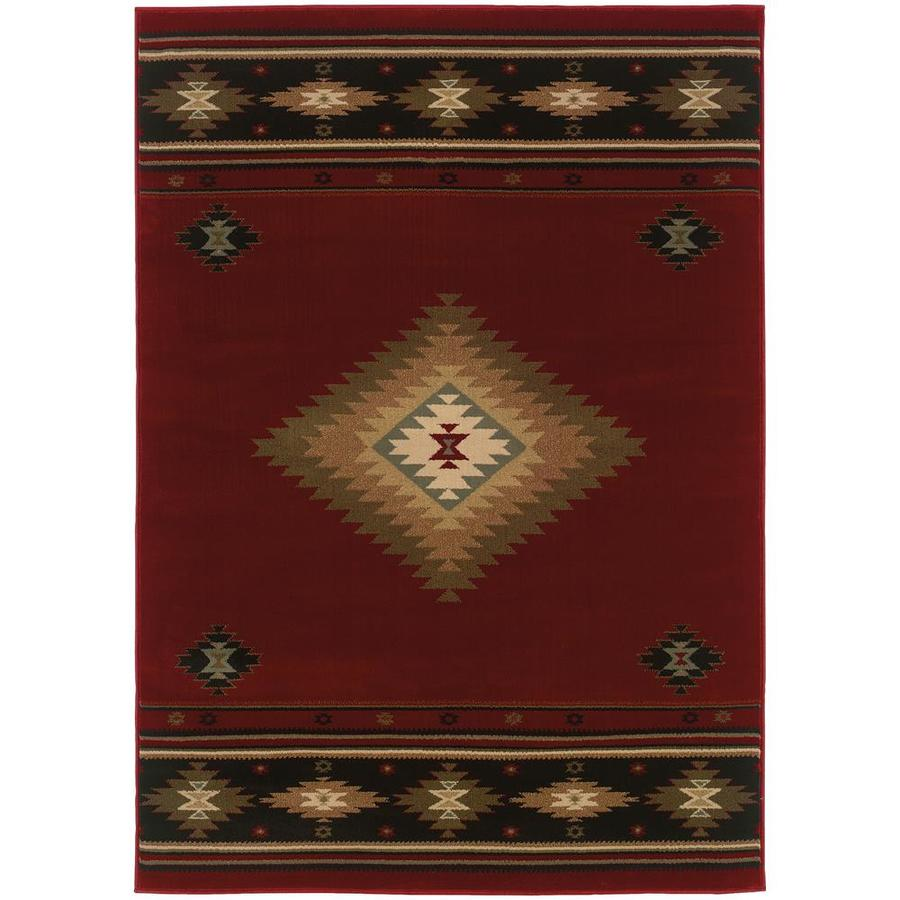 Archer Lane Galloway Red Rectangular Indoor Machine-Made Southwestern Area Rug (Common: 8 x 11; Actual: 7.67-ft W x 10.83-ft L)