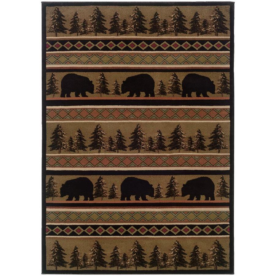 Archer Lane Illinois Black Rectangular Indoor Machine-Made Southwestern Area Rug (Common: 8 x 11; Actual: 7.67-ft W x 10.83-ft L)
