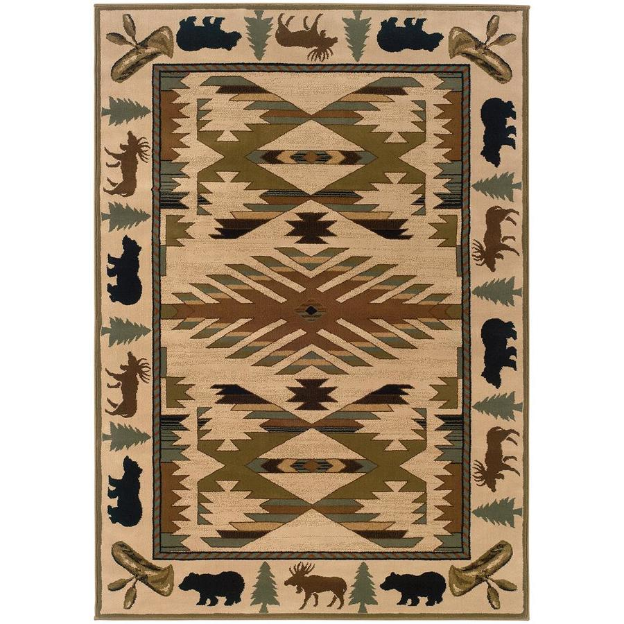 Archer Lane Kasting Ivory Rectangular Indoor Machine-Made Southwestern Area Rug (Common: 5 x 8; Actual: 5.25-ft W x 7.5-ft L)