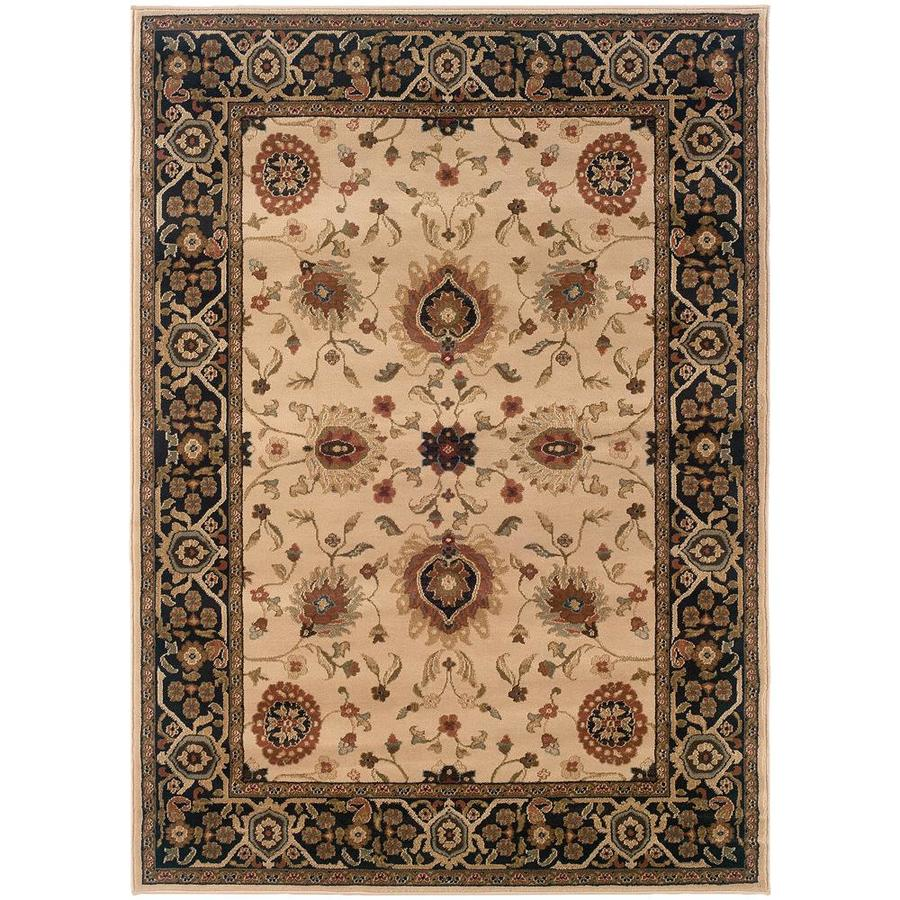 Archer Lane Laguna Beige Indoor Oriental Area Rug (Common: 4 x 6; Actual: 4.17-ft W x 5.42-ft L)