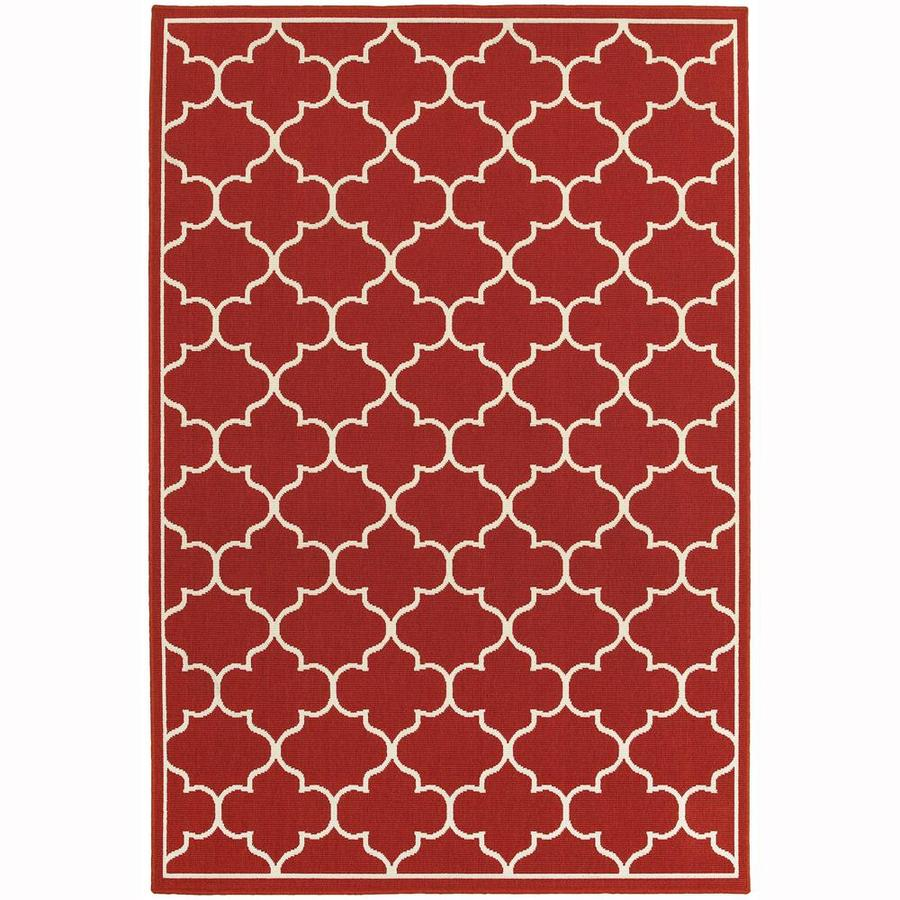 Archer Lane Achille Red Rectangular Indoor/Outdoor Machine-Made Area Rug (Common: 7 x 10; Actual: 6.58-ft W x 9.5-ft L)