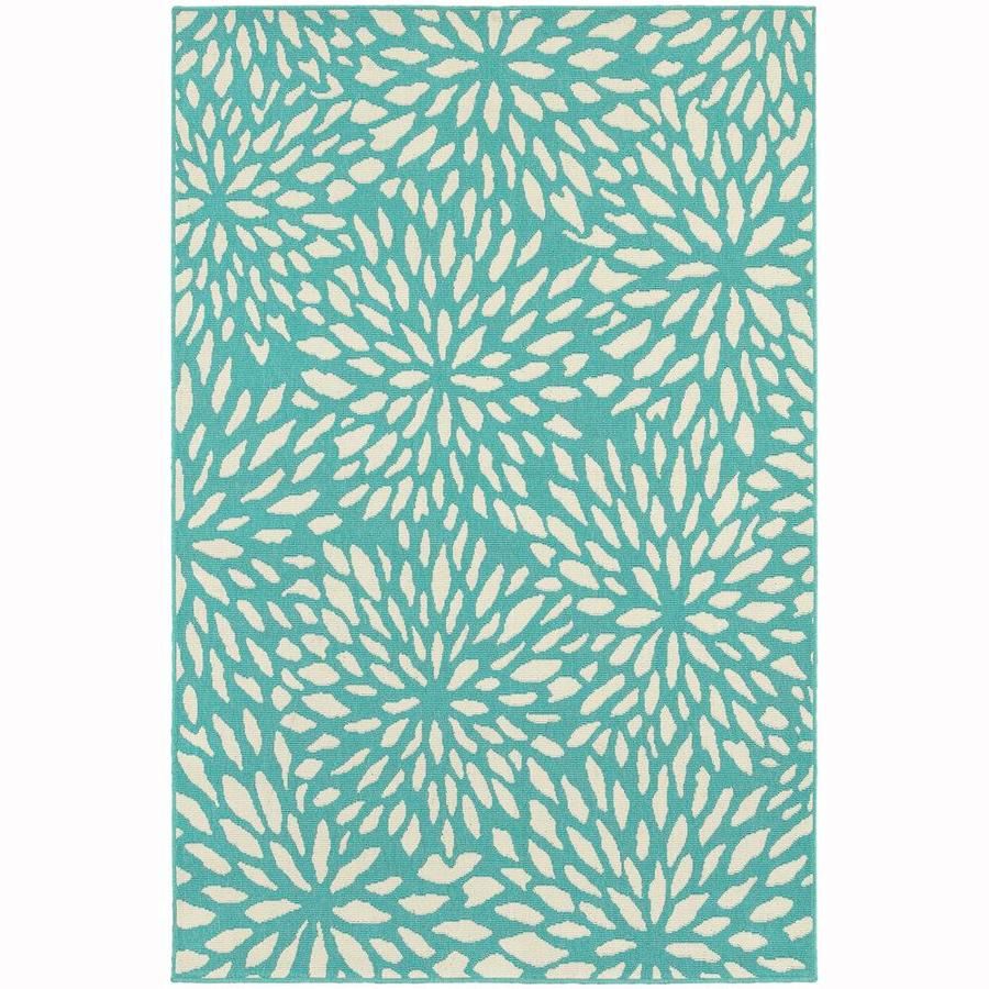 Archer Lane Balfour Blue Rectangular Indoor/Outdoor Machine-Made Area Rug (Common: 9 x 13; Actual: 8.5-ft W x 13-ft L)