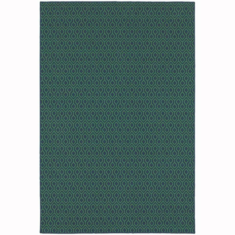 Archer Lane Caldwell Navy Rectangular Indoor/Outdoor Machine-Made Area Rug (Common: 5 x 8; Actual: 5.25-ft W x 7.5-ft L)